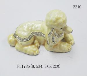 China Fashion metal alloy dog trinket Jewelry Box pewter white cute dog trinket Jewelry Box on sale