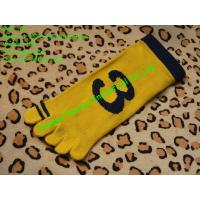 2013 fashion children 144Ne kintted yellow cotton 5 toe socks with number jacquard