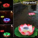 Upgraded 11 inch Solar Floating LED Lotus Light Waterproof RGB Color Changing Flower Night Lamp For Pond Pool
