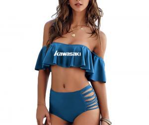 China 2018 Sexy bikini Set High Waist Swimwear Women Striped Ruffled Swim Bathing Suit on sale