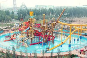 China Aqua Park Equipment Big Interactive Fiberglass Water Play House With Water Slide For Adult on sale