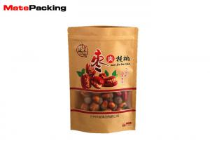 China Food Packaging Flat Brown Kraft Paper Bags Recyclable Gravure Printing With Window on sale