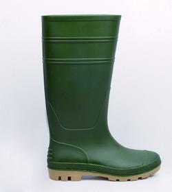 China High quality Green color Wellington knee higher PVC safety boots work farm rubber rain boots on sale