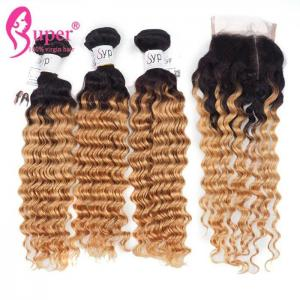 China Blonde Brazilian Ombre On Dark Brown Deep Wave Hair Weave Extensions on sale