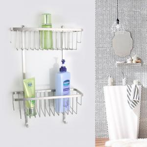 China Durability Double Layers Stainless Steel Shower Basket Wall Mounted on sale