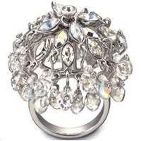 Fashion jewelry lifelong tonal crystal cocktail shiny polish Engagement ring