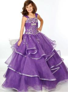 China Pruple Organza and Rhinestones Floor Length Girls Pageant Dress Designs for Kids Evening Gowns UF-1110F on sale
