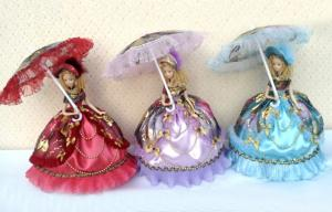 """China Pink Porcelain Doll Lamp With Lace / 14"""" Thanksgiving Doll on sale"""