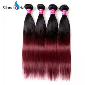 China Ombre Straight Remy Hair Weave 3 Bundles Human Hair Weft #1B-99J on sale