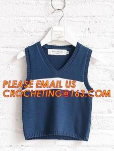 China Hot sale sleeveless, hand knit baby boys stylish sweaters, Fashion clothing kids knit vest pattern child sleeveless swea on sale