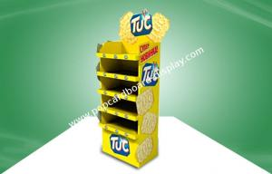 China Yellow CMYK Offset Printing POS Cardboard Display Stands With Five Shelf For Food on sale