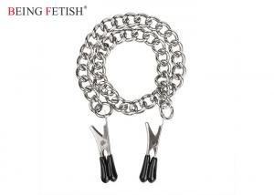 China Bondage Restraint Sex Toys Erotic Sex Toy Nipple Clamps Teasers 14 Inch Screw Silver Chain on sale