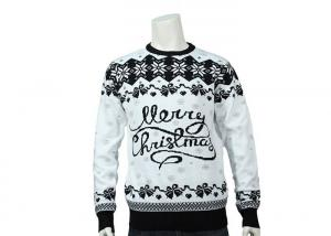 China Grey And Black Merry Christmas Logo Jacquard Soft Ugly Christmas Sweater For Mens on sale