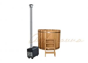 China Cedar Lover Round Outdoor Sauna Hot Tub  for 4 - 6 people , Burning wood fueled hot tub on sale