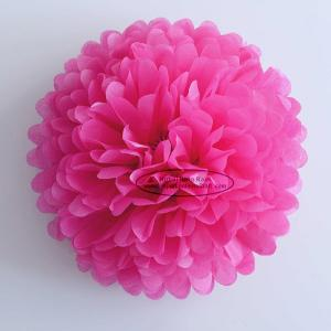 China Hot Pink Party Decoration Paper Flower Tissue Paper Pom Poms Balls Craft on sale