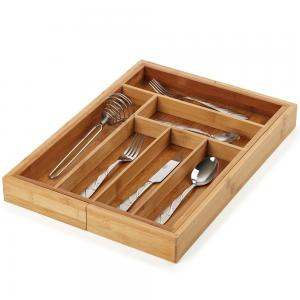 China No Plastic Bamboo Kitchen Supplies Utensil Flatware Organizer For Narrow Drawers on sale