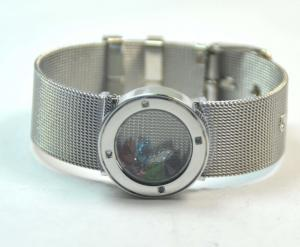 China Mesh Belt Stainless Steel Glass Round Floating Charm Living Lockets Bracelet GLB013 on sale