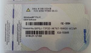 Quality Microsoft Windows 7 Professional COA for South Korea, Windows 7 professional for sale