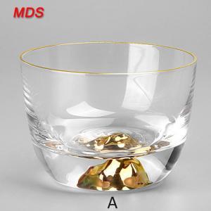 China Kung fu tea sets 100ml Japan fuji mountain glass cup with gold edge on sale