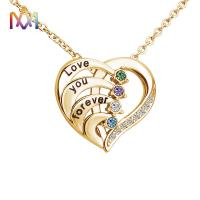 China 45cm Stainless Steel Heart Pendant Necklace With Birthstone Inlayed Engraving Jewelry Gifts on sale