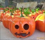 Halloween Display Shopping Centre Decorations Orange Color Fiberglass Pumpkin Statues