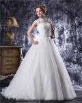 Organza Ruffle A Line Wedding Dress with Applique , Strapless Sweetheart Neckline