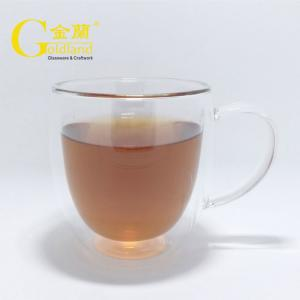 China Double Wall Glass Coffee Mug heat resistant handed coffee tea water glasses on sale