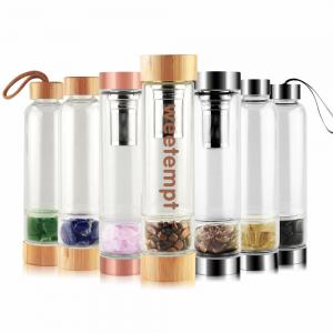 China Stainless Steel Filter Screen 450ml Healing Crystal Water Bottle on sale