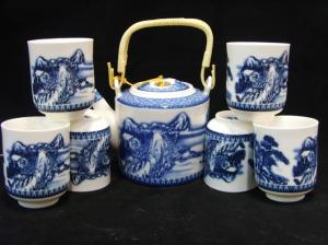 China Blue And White Fine Porcelain Tea Sets 6 Pieces Tea Cups For Christmas Gifts on sale