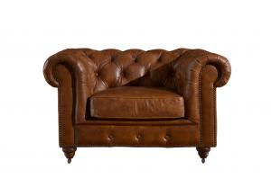 China Full Top Grain Leather Chesterfield High Back Wing Chair , Brown Leather High Back Chair on sale