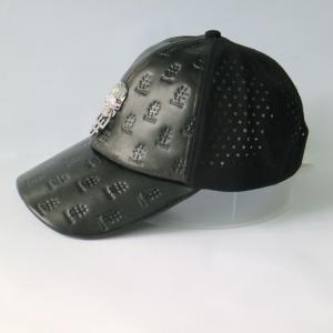 China Metal Skull Design Womens Leather Baseball Hat With Hole Waterproof on sale