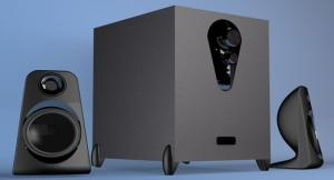 China Cheap powered subwoofer 2.1 speaker system with two satellite speakers on sale