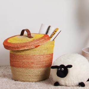 China ECO Friendly Unique Woven Orange Seaweed Organizer Seagrass Storage Straw Round Belly Kid Toy Laundry Basket With Lid on sale