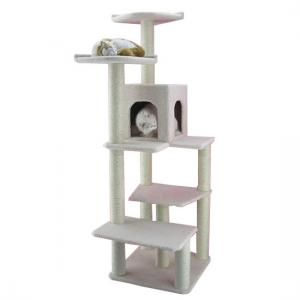 China Modern design plush cat tree wood color particle board cat furniture large size cat scratcher American style cat climber on sale