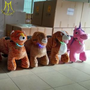 China Hansel  motorized plush riding animals carts for horses pony toy horse on wheels on sale