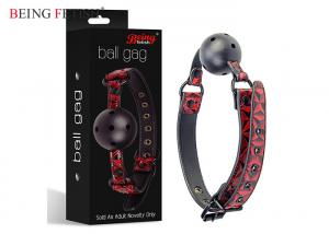 China Ball Gag Red Bondage Sex Toys PU Learher Material Nice Comfortable Touch Feeling on sale