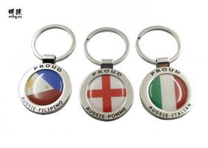 Quality Big Epoxy Sticker Custom Metal Keyrings Round Key Tags Two Sides Logo for sale