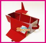 Red Folding Mahogany / Cardboard / Rigid Paper Board Wine Packaging Boxes