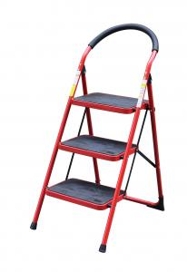 China Steel 1.07m 3 Step Telescopic A Frame Step Ladder on sale