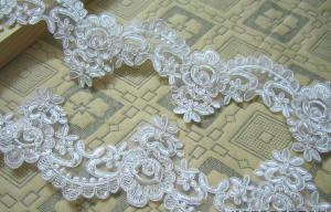 China Ivory Wedding Dress Lace Border with Cord/ Bridal veils Lace Edge with Bead on sale