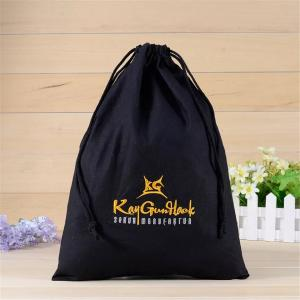 China Black 100 Cotton Promotional Gift Bags With Silk Screen Printing Hot Stamping on sale