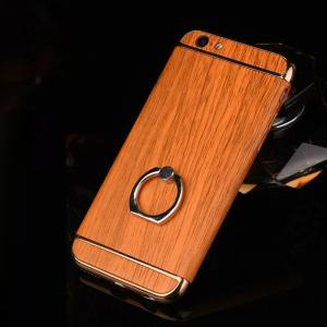 China Hard PC Retro Wood Triple Plating Border Ring Buckle Bracket Cover Cell Phone Case Cover For iPhone 6 6s Plus on sale