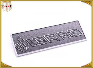 China OEM Service Decorative Shiny Chrome Metal Logo Tags , Zinc Alloy Custom Logo Clothing Labels on sale
