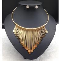 Hot Selling Antique European and American Triple Link Bar Tassel Dangle Pendant Bib Necklace Set