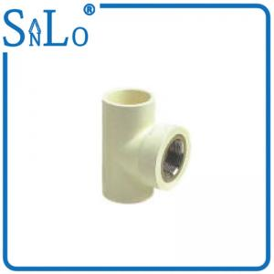 China Three Way Green Grey White 90 Degree Pipe Fitting With Brass Insert Half Inch on sale