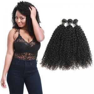 China Natural Black Virgin Curly Hair Bundles / Curly Weave Human Hair 3 Bundles on sale