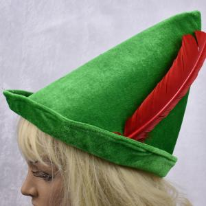 China Oktoberfest green Peter pan hat red feather party hat 58-60cm velvet fabric green color on sale