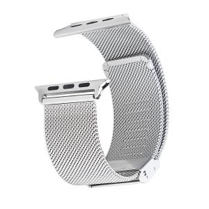 China Stainless Steel 0.6mm Mesh Watch Strap Wrist with Adapter Silver on sale