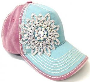 Quality Charming Sparkle Cotton Unisex Baseball Caps With Floral Rhinestones Crystal for sale