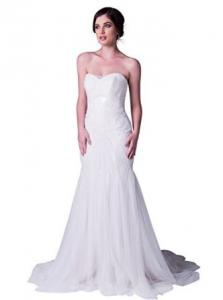 China ALBIZIA White Tulle Beading Sleeveless Chapel Train Mermaid Bridal Wedding Dress on sale